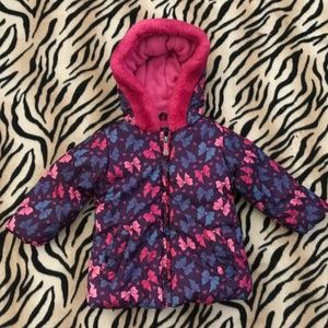 Pink Purple Bow Hoodie Zipper Faux Fur Jacket